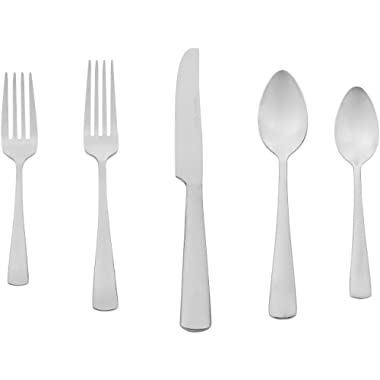 AmazonBasics 20-Piece Stainless Steel Flatware Silverware Set with Square Edge, Service for 4