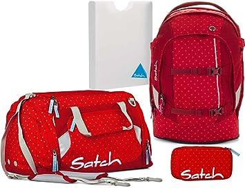 a41afa5927226 Satch by Ergobag Schulrucksack-Set Pack 4-tlg Dotty 977 rot gepunktet
