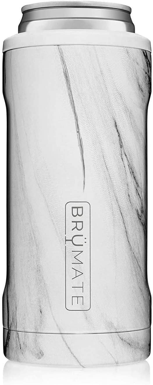 BrüMate Hopsulator Slim Double-walled Stainless Steel Insulated Can Cooler for 12 Oz Slim Cans (Carrara)