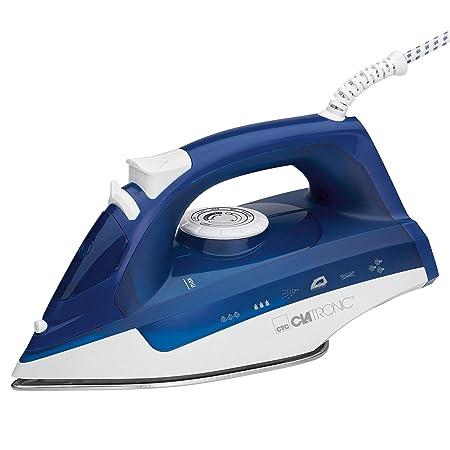 Clatronic DB 3704 Plancha Suela Acero INOX, Vertical, Golpe de Vapor, autolimpieza, antigoteo, 7 Funciones 2200W, 2200 W, Blanco/Azul