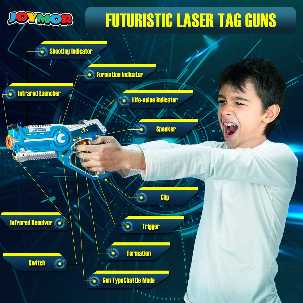 JOYMOR Laser Tag Guns Set of 4 Tag Blasters with Vests ,Multiplayer Mode,Best Toy for Boys Girls for Indoor and Outdoor Activity- Infrared 0.9mW by JOYMOR (Image #2)