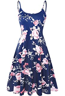 33c88c94da34 Plus Size Floral Midi Dresses for Women Summer Adjustable Strappy Swing  Dress