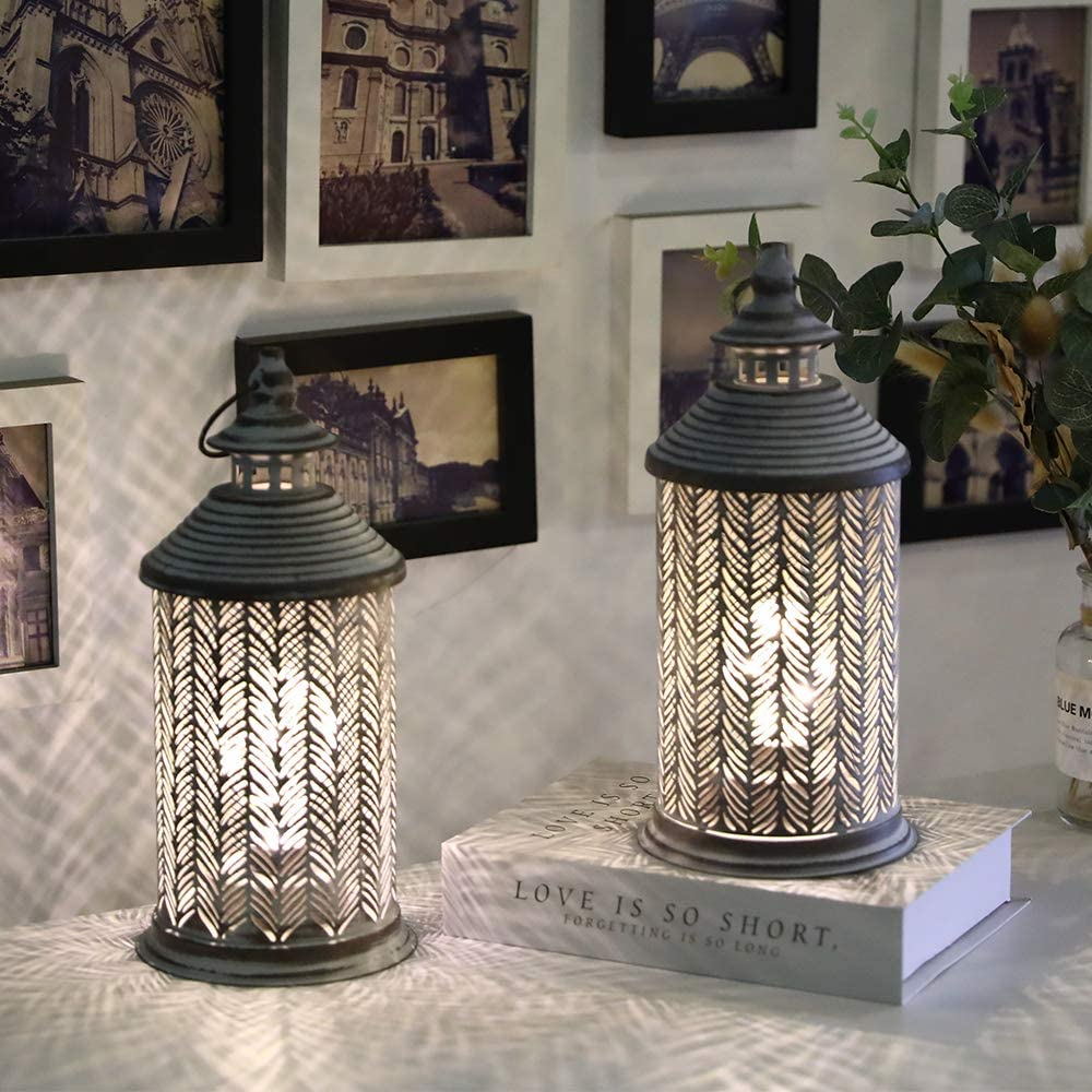 JHY DESIGN Set of 2 Metal Table Lamp Battery Powered 10.5