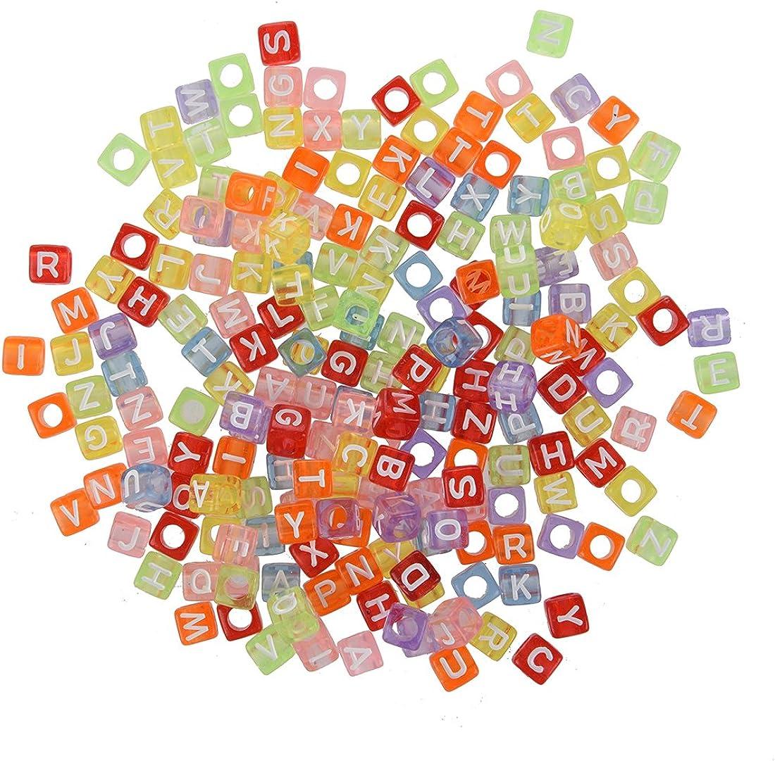 SODIAL(R) Lot 200 Abalorios Plastico Alfabeto Letras Cubo Cuadrados