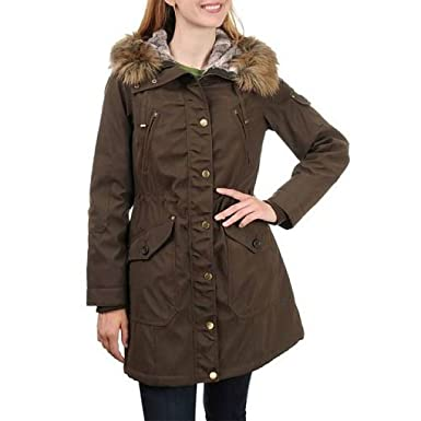 08429c77307 Amazon.com  1 Madison Women s Heritage Collection Winter Jacket with Fur  Hood (Large
