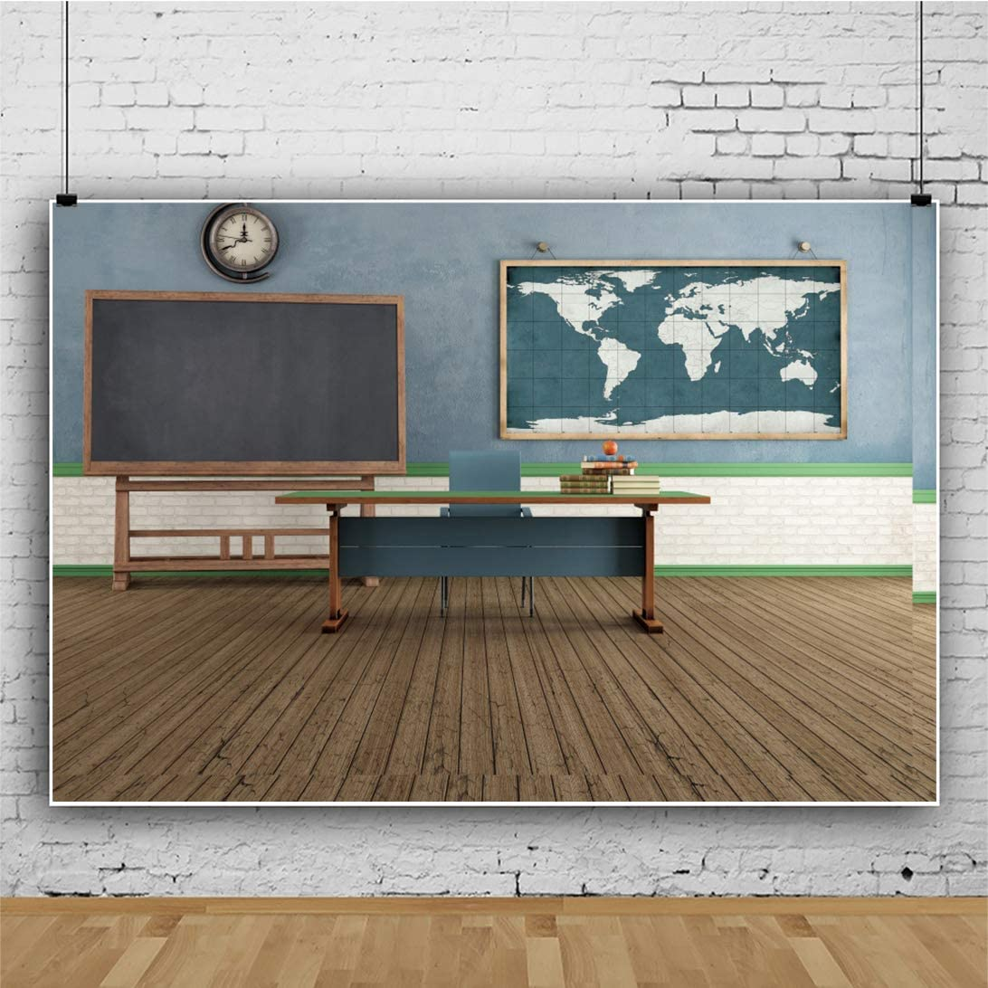 YEELE 12x8ft Vintage Classroom Backdrop Back to School Photography Background Online Teaching Course Old Wooden Blackboard and Teachers Desk Kid Boy Student Portrait Photo Shoot Studio Prop