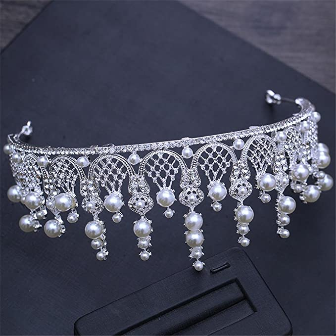 Queen Bride Sposa Matrimonio Corona Imperiale Perla Foratura Flash Corona  Santa Comunione Copricapo Accessori Per Capelli Studio Accessori   Amazon.it  Casa ... b27f91328f60