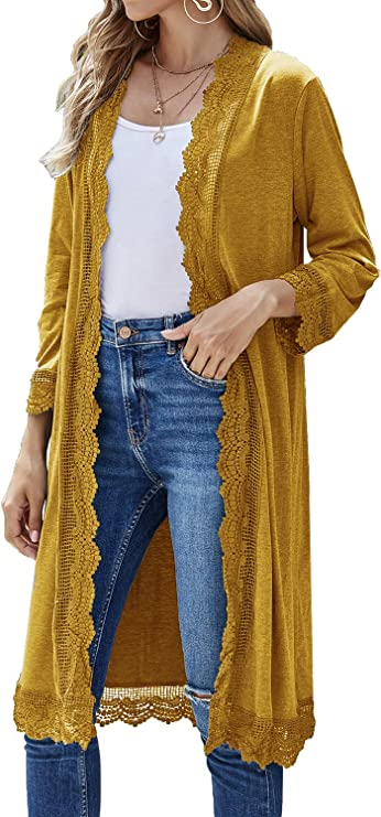 70s Clothes | Hippie Clothes & Outfits Bluetime Womens Casual Lightweight Lace Open Front Long Duster Cardigans Sweater $18.99 AT vintagedancer.com