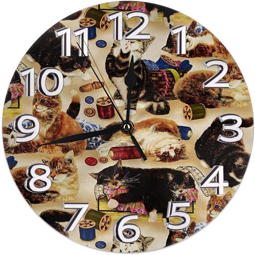 Reloj De Pared Coser Gatos Curiosos Y Nociones De Costura Reloj De ...