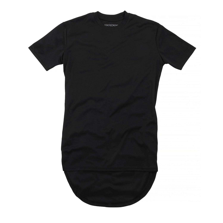 Amazon.com  Brave Soul Mens McBose Plain Long Length Curved Hem T-Shirt   Clothing db3ad1d217d