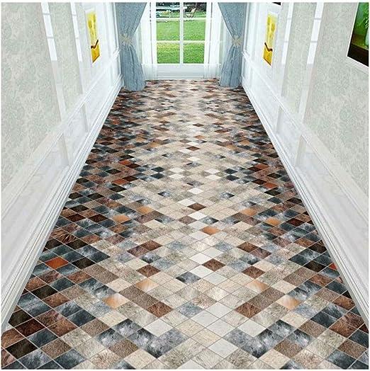 Jcy-La alfombra Rectangular Pasillo Escaleras Cocina Oficina,Moqueta Lavable Antideslizante,Patrón de Diamante 3D (Color : Multi-Colored, Size : 0.6x1m): Amazon.es: Hogar