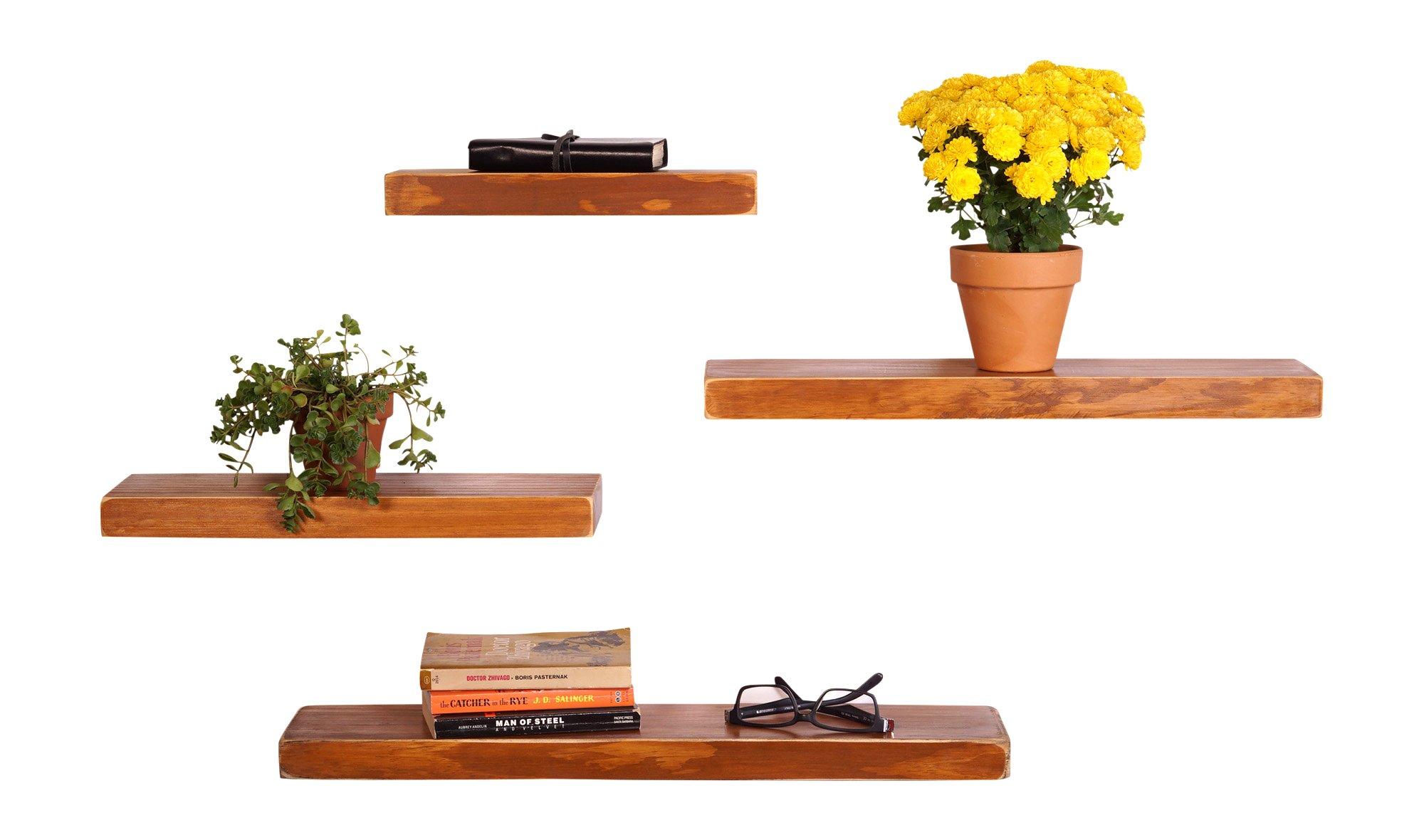 DAKODA LOVE Weathered Edge Floating Shelves, USA Handmade, Clear Coat Finish, 100% Countersunk Hidden Floating Shelf Brackets, Beautiful Grain Pine Wood Rustic Wall Decor (Set of 4) (Autumn)