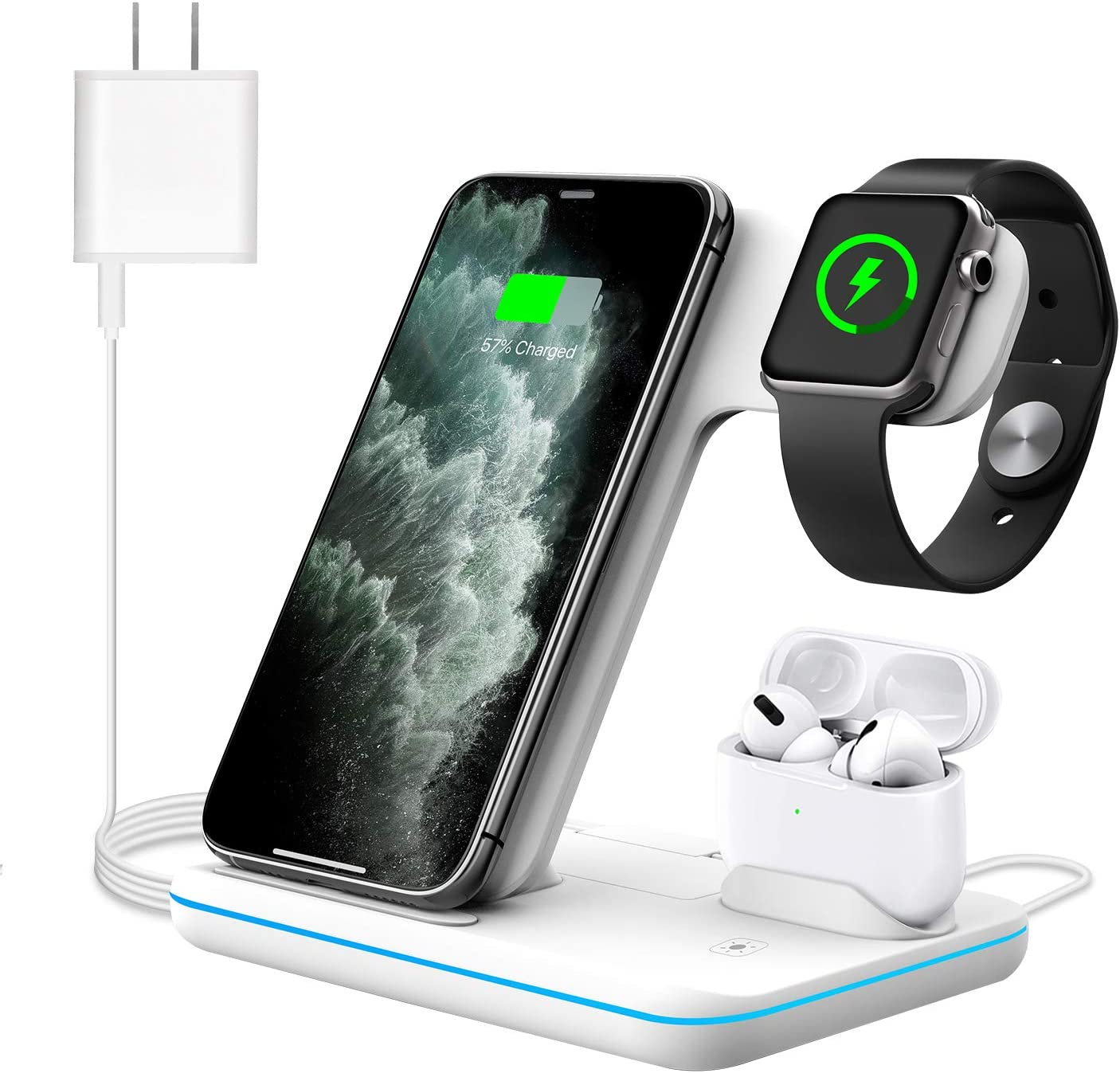 WAITIEE Wireless Charger,3 in 1 Qi-Certified 15W Fast Charging Station for Apple iWatch Series 5/4/3/2/1,AirPods,Compatible with iPhone 11 Series/XS MAX/XR/XS/X/8/8 Plus/Samsung (White)