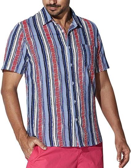 MOTOCO Camisa de Manga Corta con Rayas de Hombre Camisa con ...