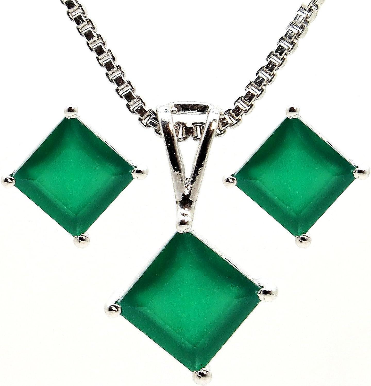 neerupam colección 92,5% Plata de Ley Natural verde Onyx piedras preciosas colgante Set