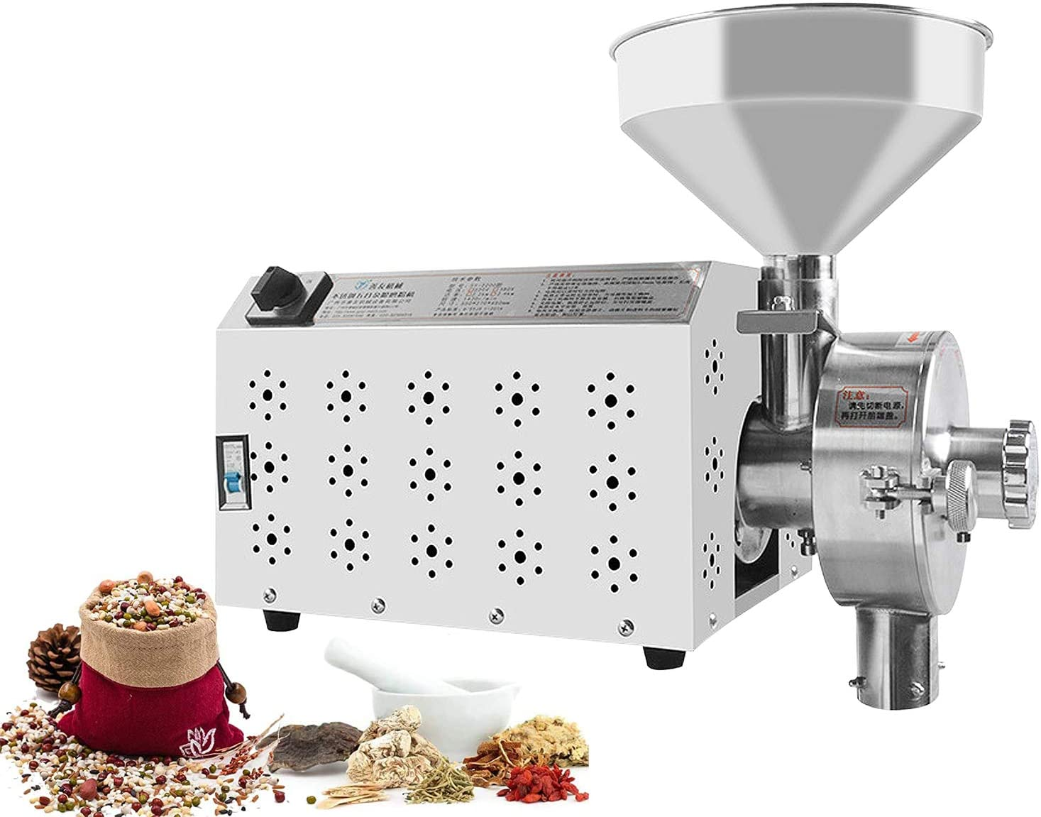 CGOLDENWALL Commercial Stainless steel Spice and Chinese Herb Grinder Industrial Electric Peppe Grain Mill Soybean Grain Food Grinding Machine 15-50kg/h (Voltage: 110V)