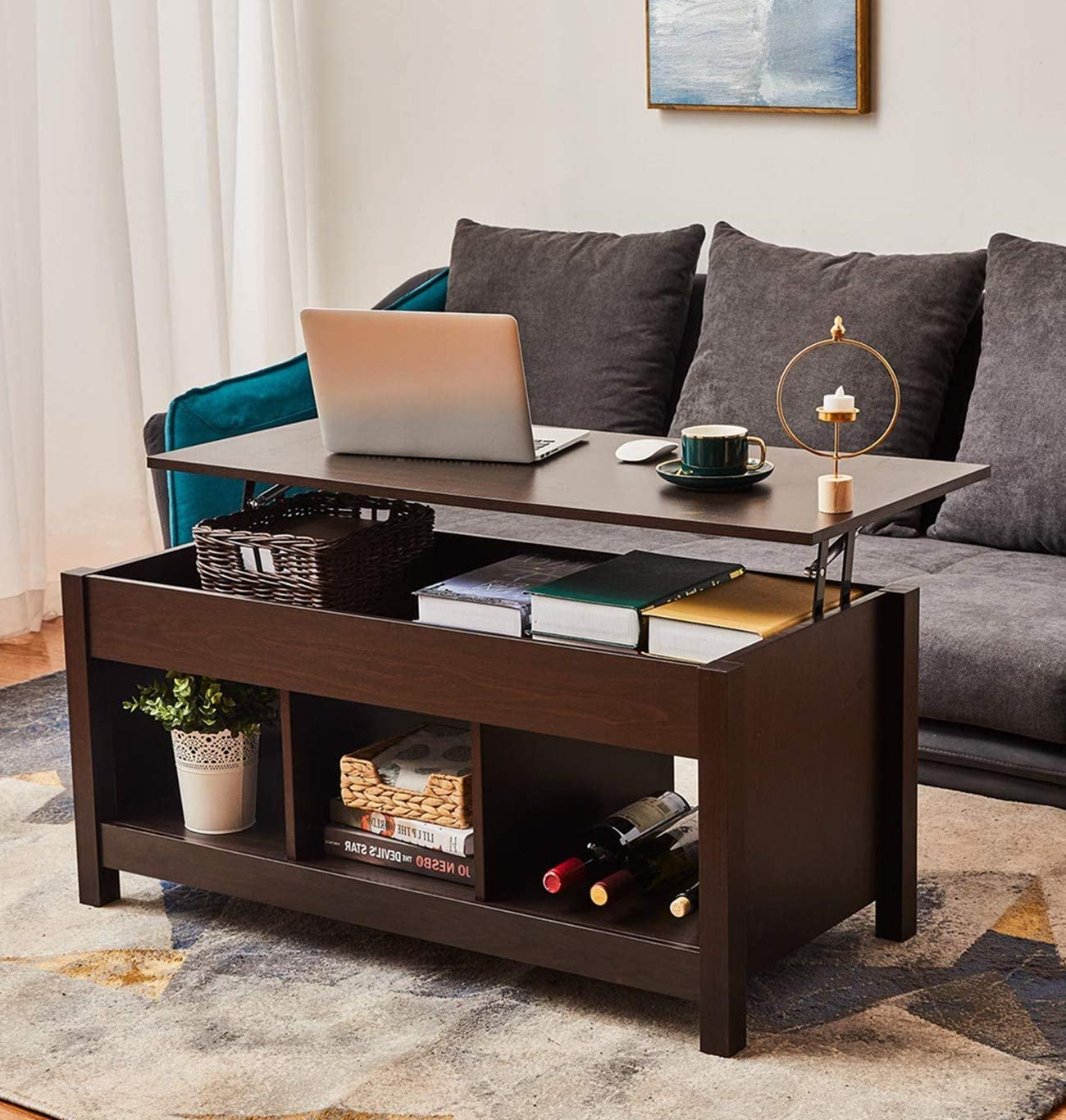 Modern Lift Top Coffee Table with Hidden Compartment and Storage Shelf, Storage Shelves Pop-Up Storage Cocktail Table Dining Table for Living Room Furniture Brown