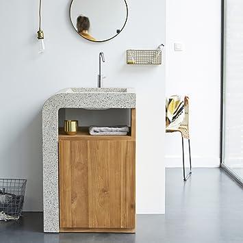 Waschtisch mit integriertem Terrazzo Waschbecken 60 cm ...