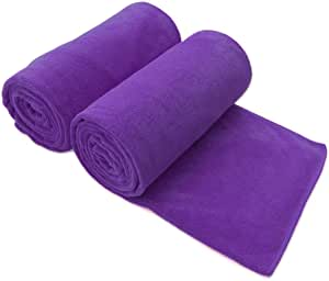 "JML Microfiber Bath Towels, 2 Pack(30"" x 60"") Oversized, Ultra Soft, Super Absorbent and Fast Drying, No Fading and Multipurpose Use for Sports, Travel, Fitness, SPA and Yoga - Solid Color, Violet"