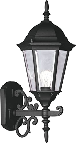 Livex Lighting 7556-04 Outdoor Wall Lantern with Clear Beveled Glass Shades, Black