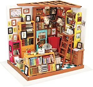 HMANE DIY Dollhouse Kit Miniature Furniture Assembly Model Toys with LED Light Best Birthday Gift for Women and Girls - (Bookstore)