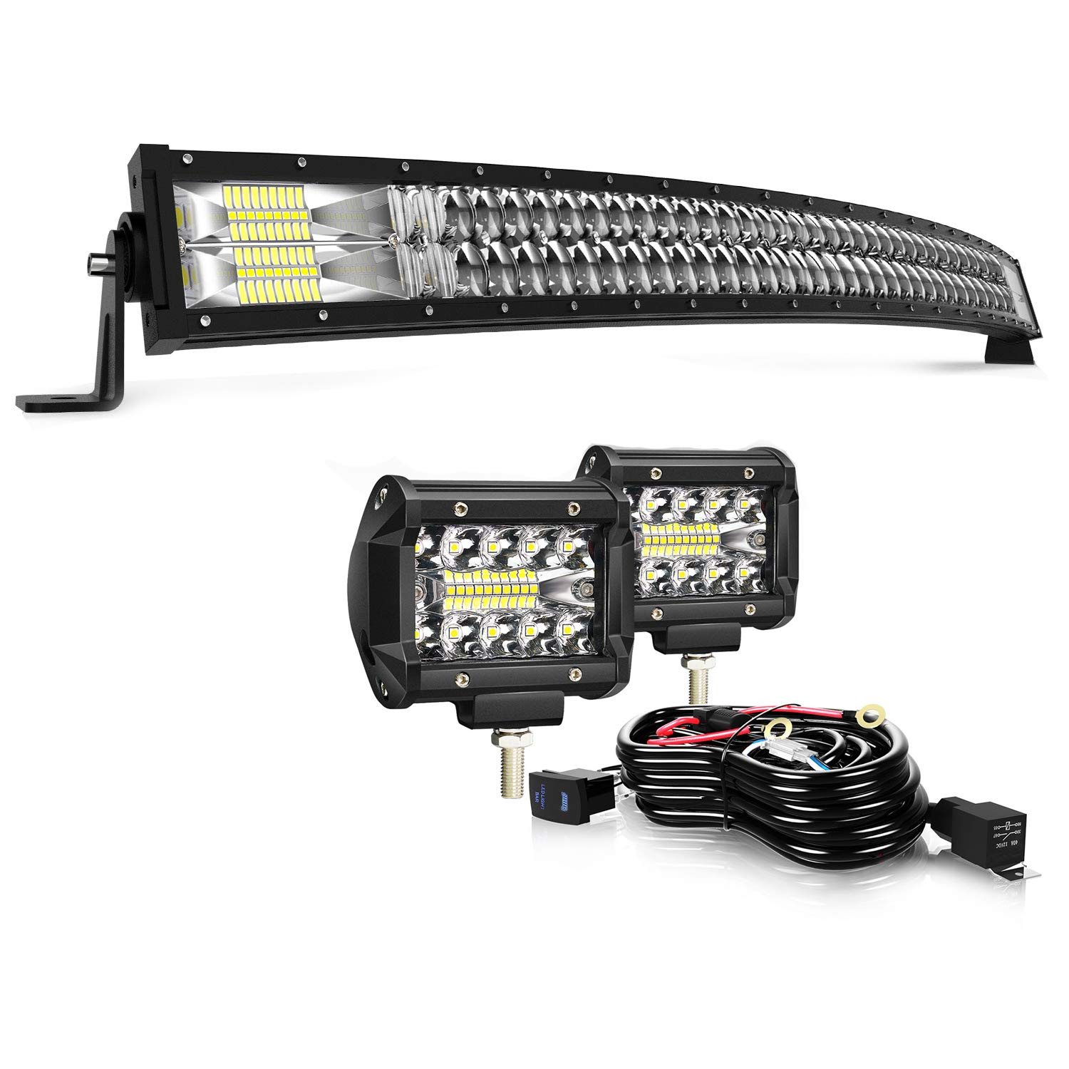 """42"""" Curved LED Light Bar KEENAXIS 240W 5D Upgrade Chipset W/ 2Pcs 4in 60W Driving Fog Lamp with Rocker Switch Wiring Harness for Jeep Trucks Offroad Lighting Marine Boating Combo Beam Light Bars Kit"""