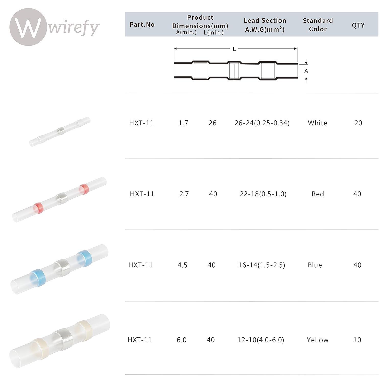 110 pi/èces de connecteurs de fils /à souder Wirefy Bornes /à fil /électrique Connecteurs bout /à bout thermor/étractables /Épissures bout /à bout isol/ées marines