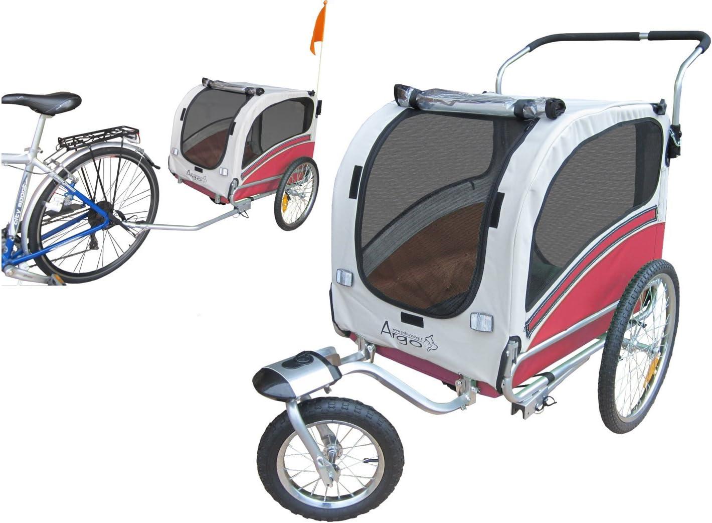Polironeshop Argo - Remolque y carrito para bicicleta para el transporte de perros, rojo, Medium
