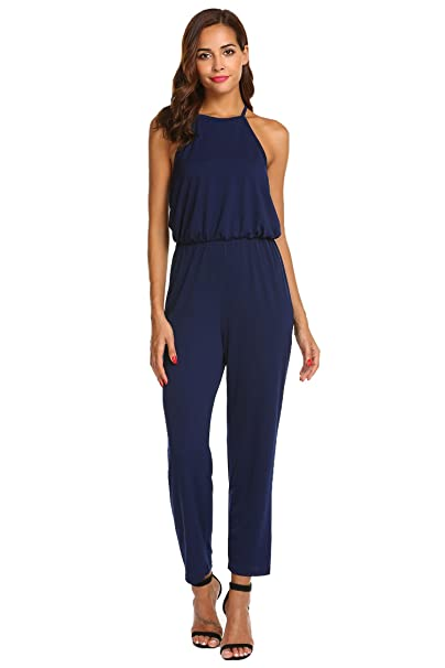 fe4628ecf039 Amazon.com  Idomeo Women Casual Backless Full-Length Solid Jumpsuits Solid  Halter Sleeveless Cinched Waist Long Pants Jumpsuit  Clothing