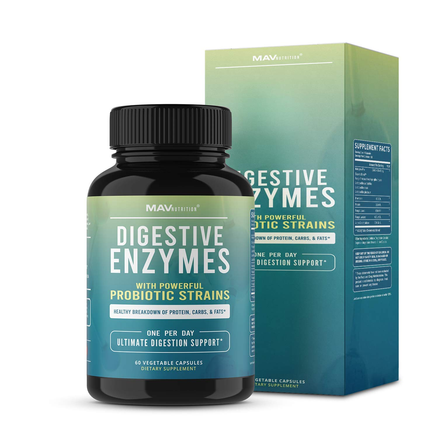 MAV Nutrition Digestive Enzymes & Probiotics, Digestion Aid with 3 Strains, Shelf Stable, Non-GMO, 60 Count by MAV NUTRITION