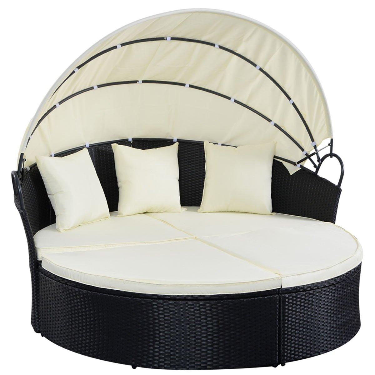 Black Reconfigurable Round Rattan Patio Sofa Daybed Retractable Sun Cover