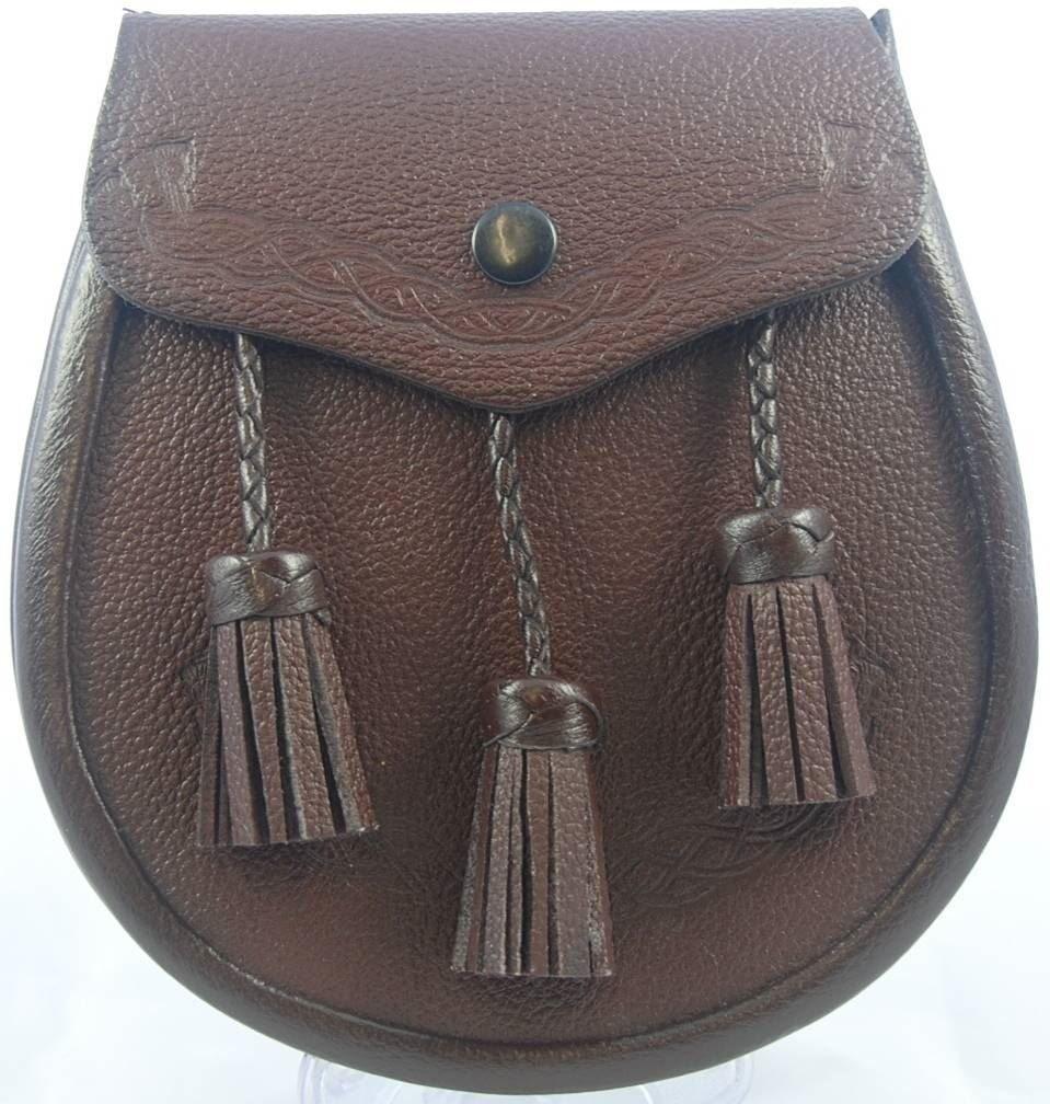 Kilt Society Celtic Classic Brown Leather Sporran