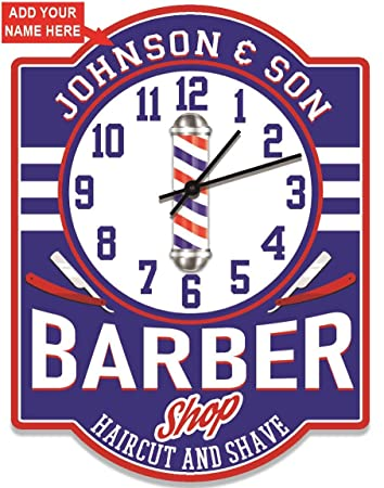 Barber Shop Personalized Wall Clock from Redeye Laserworks