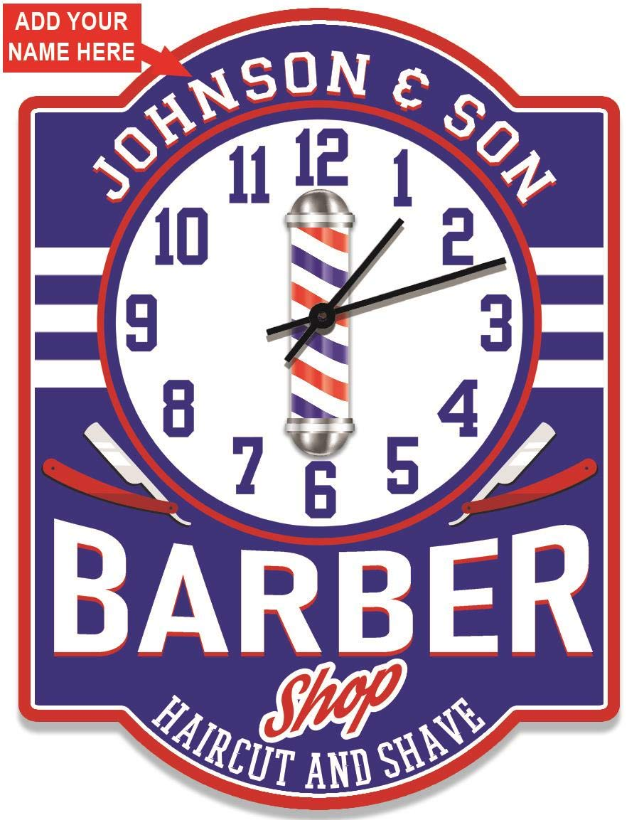 Redeye Laserworks Barber Shop Personalized Wall Clock from