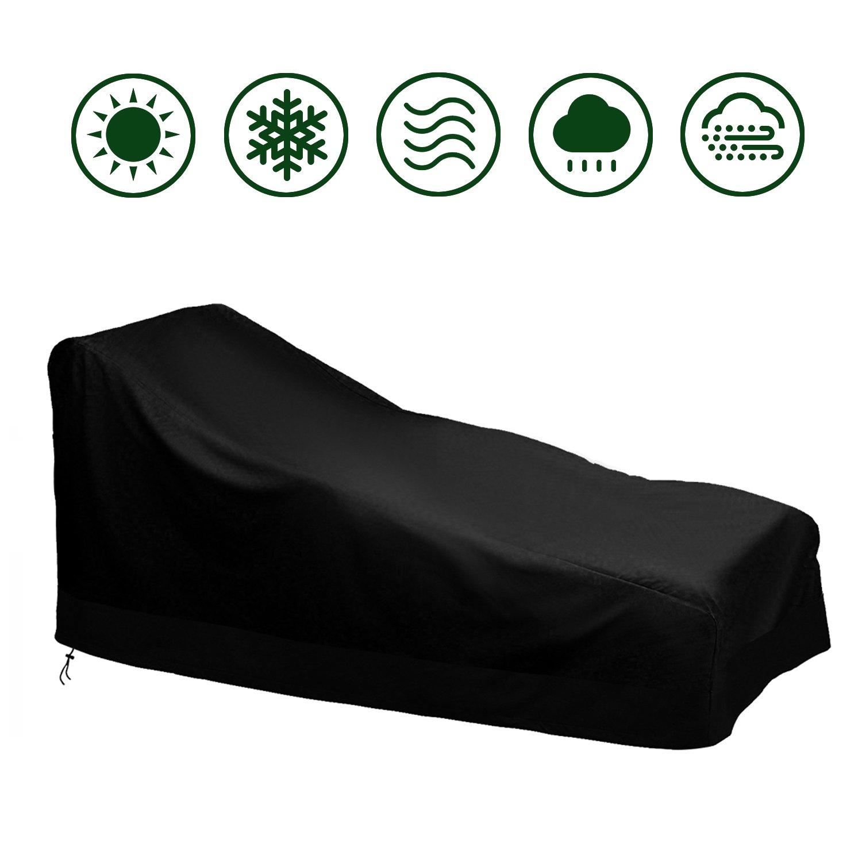 Moonkit Copertura per lettini prendisole, Copertura per sedia a sdraio Coperture per mobili da giardino impermeabile, 200 x 75 x 40/70 CM