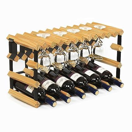 YXX- Cucina in Legno 6 Bottiglie di Vino Fai da Te Rack in ...