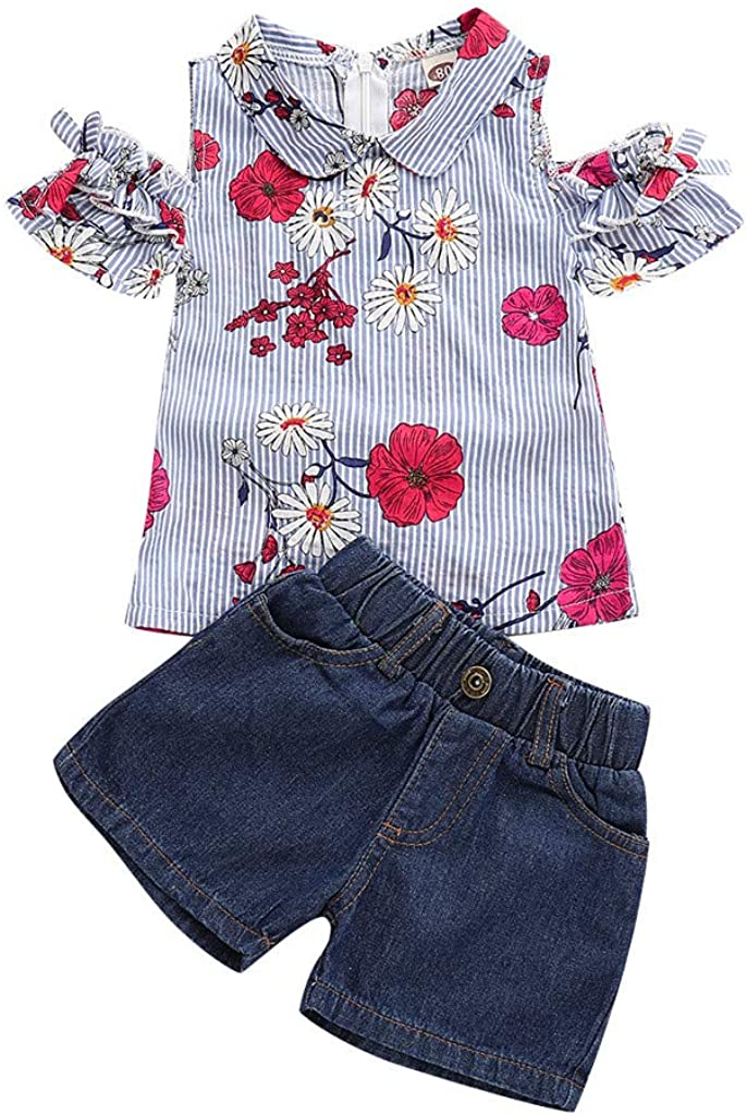 SSZZoo Baby Girls Floral Embroidery Striped Leaky Shoulder Button Up Tops+Denim Shorts Jean Toddler Sets