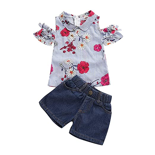 5670451869af Amazon.com  for 0-4 T Little Kids Baby Girls  Clothes Set Summer Floral  Print Shirt Tops and Denim Tassels Shorts 2pcs Outfits  Clothing