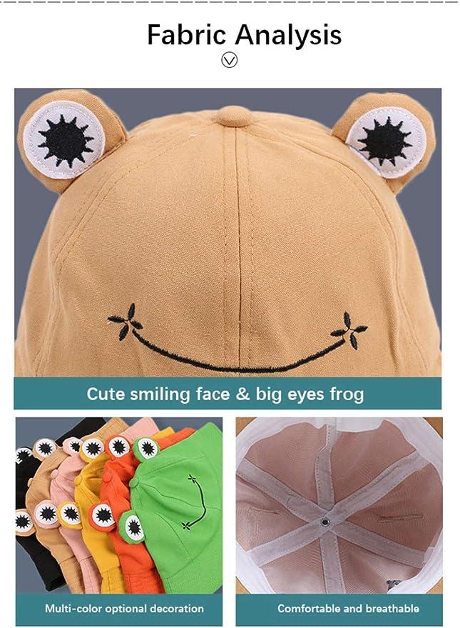 ORNOOU Cute Frog Bucket Hat Summer Cotton Bucket Sun Hat for Adults Teens Wide Brim Fisherman Cap,Green