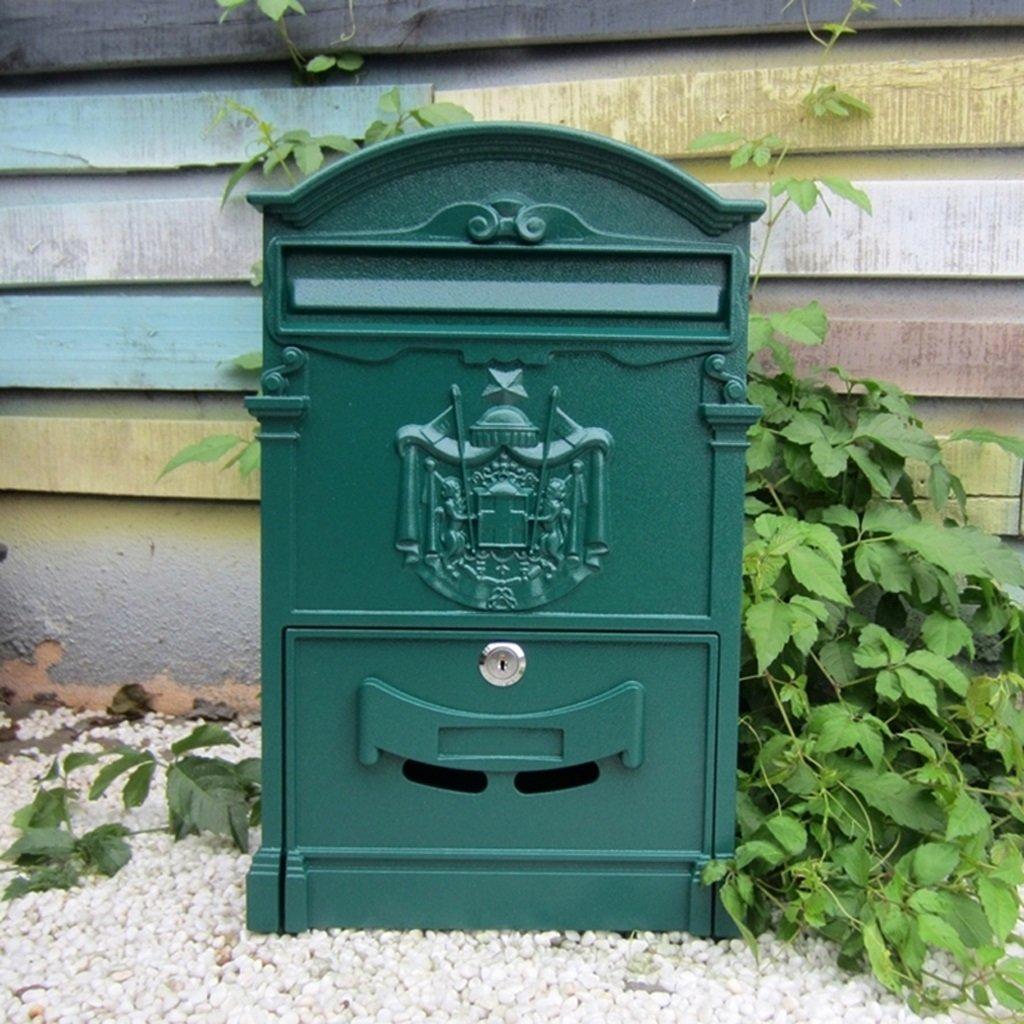 PLL ヨーロッパスタイルのレターボックス屋外防水壁クリエイティブな牧歌的なスタイルのレトロメールボックスロック付き B07DQJZTF9 12951