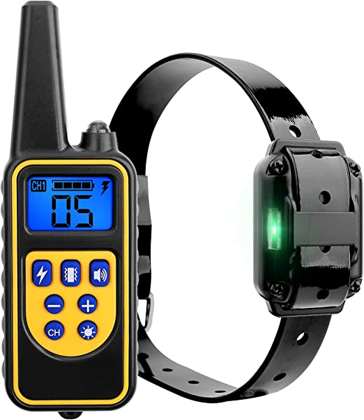 FIXTOR Dog Training Collar with Remote, Waterproof Rechargeable Dog Shock Collar with 3 Training Modes,Up to 2600ft Remote Range and Adjustable 0~99 Shock Levels Pet Training Set-Black