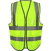Eshopping Warehouse Chaleco ejecutivo unisex de alta visibilidad de trabajo reflectante de seguridad superior