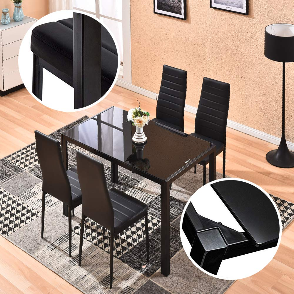 Awe Inspiring Dining Table With Chairs 4Homart 5 Pcs Glass Dining Kitchen Table Set Modern Tempered Glass Top Table And Pu Leather Chairs With 4 Chairs Dining Room Cjindustries Chair Design For Home Cjindustriesco