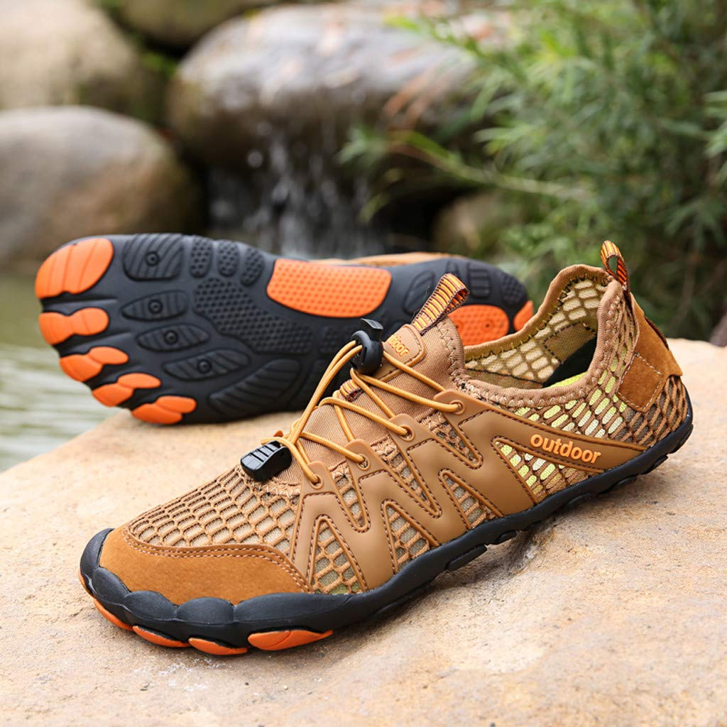 Mens Womens Casual Drawstring Water Shoes Quick Dry Barefoot for Swim Diving Surf Aqua Sports Pool Beach Walking Yoga (9, Brown) by PaJau-Men's Shoes (Image #7)