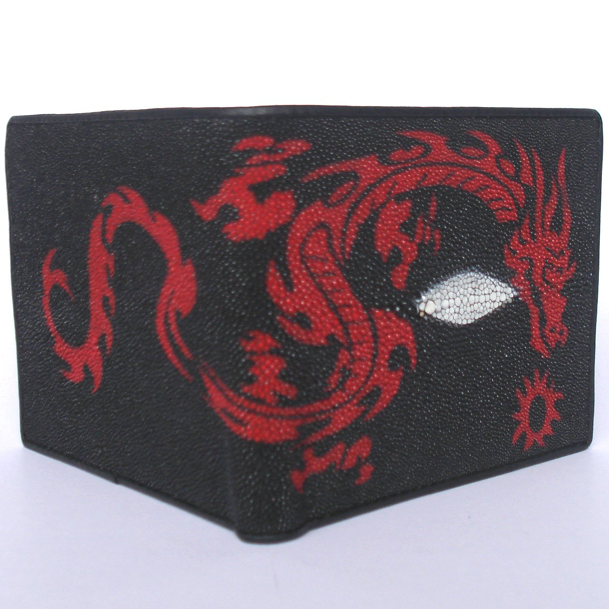c01c8cd64c52 100 % Genuine Stingray Leather Bifold Men's Wallet with Beautiful Dragon  from Thailand