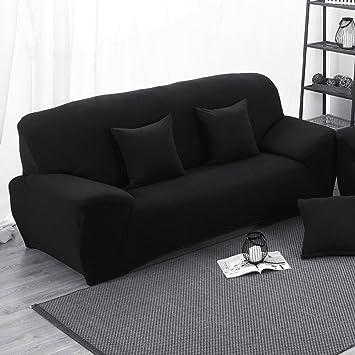MONY Sofá Cubierta 3 Asientos Funda elástica para sofá Pantalla Slip, Negro
