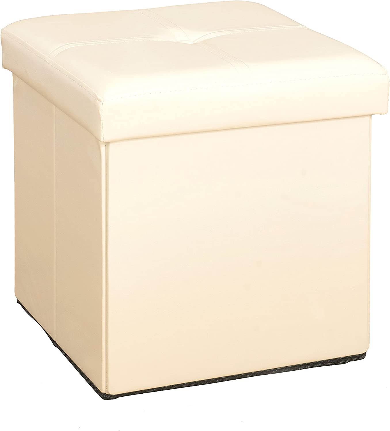 Simplify Kennedy Home Collection 30-Inch Faux Leather Folding Storage Ottoman, IVO