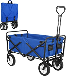 SNAN Collapsible Utility Wagon, Heavy Duty Folding Outdoor Garden Cart, Rubber Wheels W/Brake and Drink Holder, Adjustable Handles, Double Fabric, Suit for Garden, Sports, Camping, Picnic (Blue)