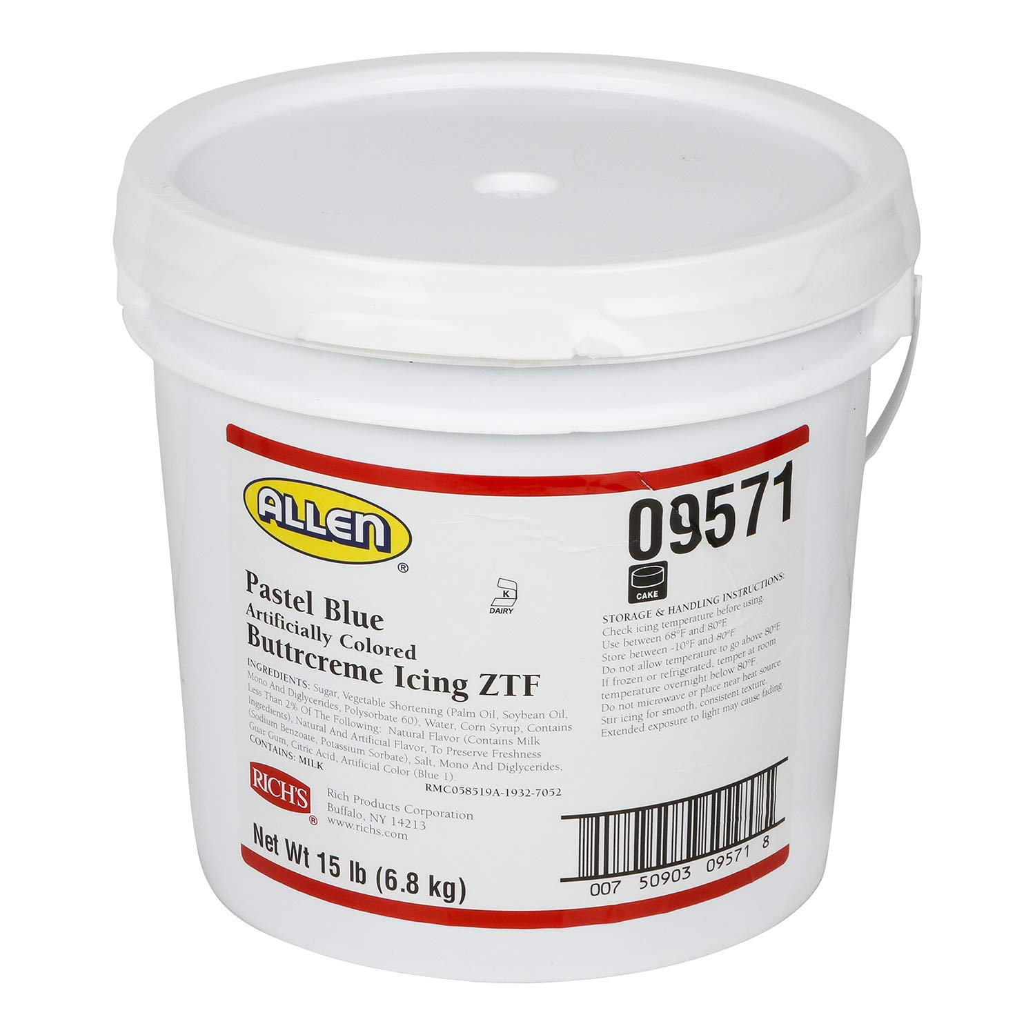 Rich's JW Allen Pre-Whipped Buttrcreme Icing ZTF, Pastel Blue, 15 lb