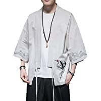 PRIJOUHE Men's Kimono Jackets Cardigan Casual Cotton Blends Linen Seven Sleeve Open Front Embroidery Coat
